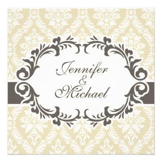 Cream Damask Wedding Invitation