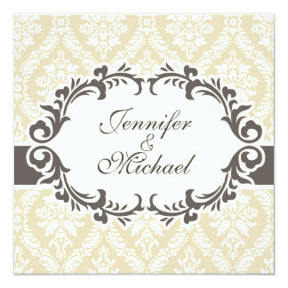 Cream Damask Wedding Invitation