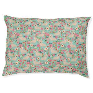 Cream Doxie Floral - cream florals Pet Bed