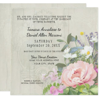 Cream Elegant Floral Wooden Pink PeonyVintage Card