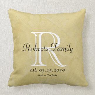 Cream Faux Leather Monogram Anniversary Cushion