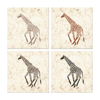 Cream Faux Marble Giraffes Stretched Canvas Print