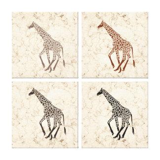 Cream Faux Marble Giraffes Gallery Wrap Canvas