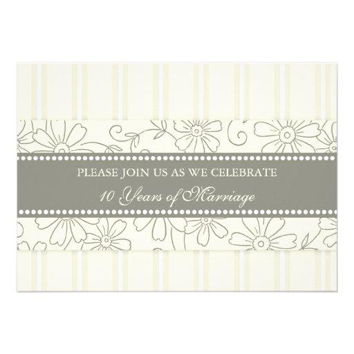 Cream Floral 10th Anniversary Party Invitation