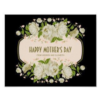 Cream Floral Happy Mother's Day Sign Poster