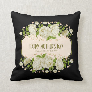 Cream Floral Happy Mother's Day Throw Pillow