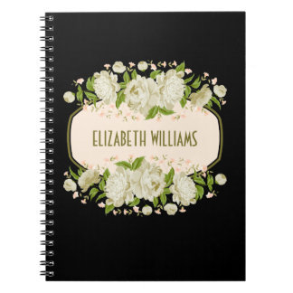 "Cream Floral Notebook. Mother""s Day Gift Spiral Notebook"