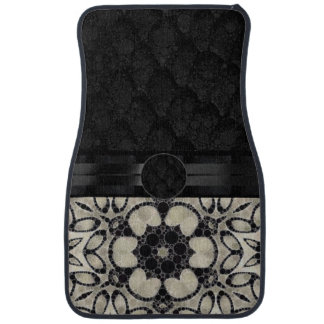 Cream Floral Pattern Monogram Car Mat