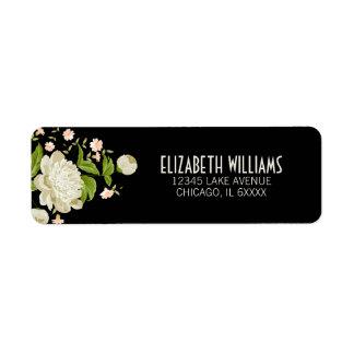 Cream Floral Return Address Label