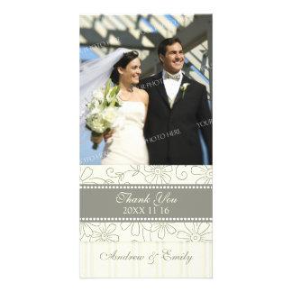 Cream Floral Thank You Wedding Photo Cards