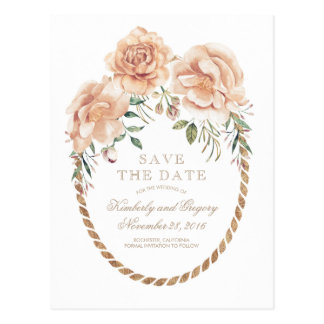 Cream Floral Watercolors Gold Wreath Save the Date Postcard