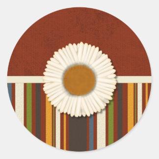 Cream Flower on Stripes Stickers