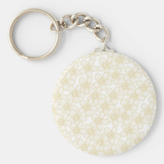 Cream Flowers Basic Round Button Key Ring