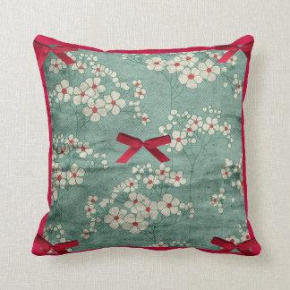 Cream Flowers & Red Bows & Green  American MoJo Pi Cushion