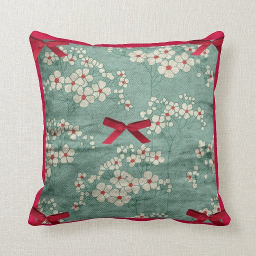 Cream Flowers & Red Bows & Green  American MoJo Pi Throw Pillow