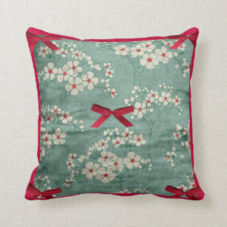 Cream Flowers Red Bows Green American MoJo Pi Throw Pillow