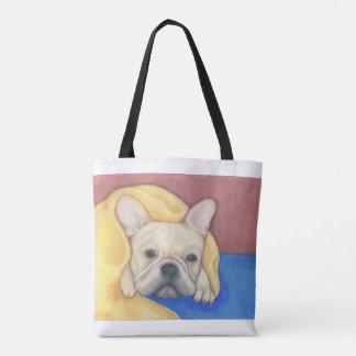 Cream French Bulldog colourful tote