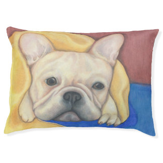 Cream French Bulldog Large indoor dog bed