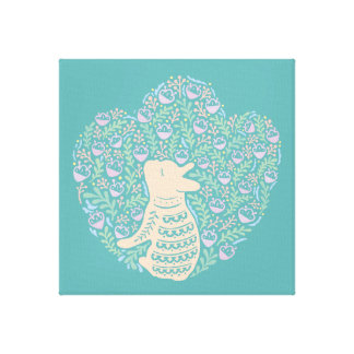 Cream Frenchie and the Spring foliage Canvas Print
