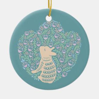 Cream Frenchie and the Spring foliage Ceramic Ornament