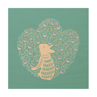 Cream Frenchie and the Spring foliage Wood Wall Art