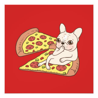 Cream Frenchie invites you to her pizza party Photo Print