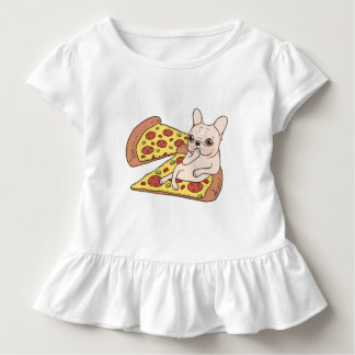 Cream Frenchie invites you to her pizza party Toddler T-Shirt