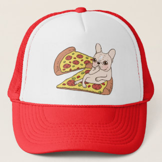 Cream Frenchie invites you to her pizza party Trucker Hat