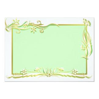 Cream, green and gold floral ornament 13 cm x 18 cm invitation card