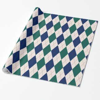 Cream, Green and Navy Argyle Wrapping Paper