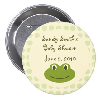 Cream & Green Dots Frog Baby Shower Button Favors