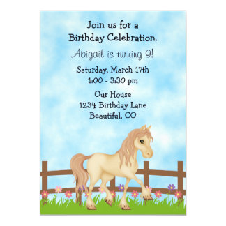 Cream Horse and Flowers Girls Birthday Invitation