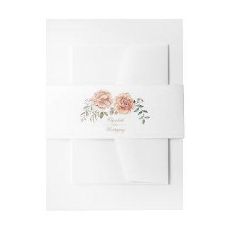 Cream Ivory Watercolor Flower Elegant Boho Wedding Invitation Belly Band