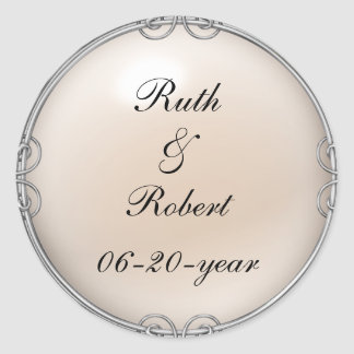 Cream Jeweled Pearl Wedding Stickers