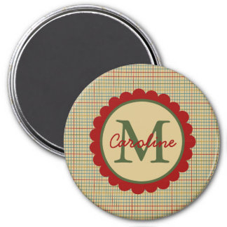 Cream Kitchen Plaid Monogram Magnet
