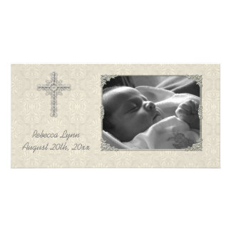 Cream Lace Religious Photo Card