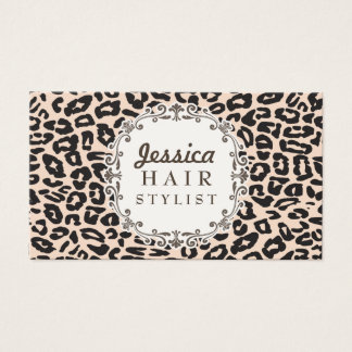 Cream Leopard Print Hair Stylist Appointment Cards