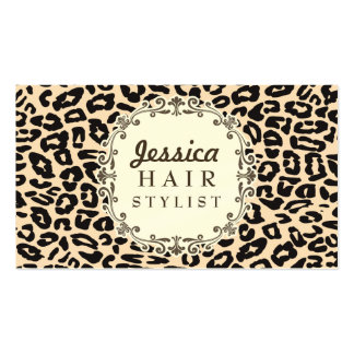 Cream Leopard Print Hair Stylist Appointment Cards Pack Of Standard Business Cards