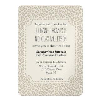 Cream Leopard Print Wedding Card