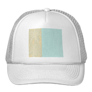 Cream Linen and Blue Palm Trees Mesh Hats
