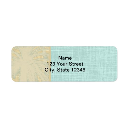 Cream Linen and Blue Palm Trees Return Address Label