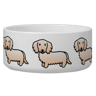 Cream Long Coat Dachshund Cartoon Dog Pet Bowl