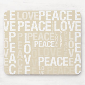 Cream Love Peace Typography Mouse Pad
