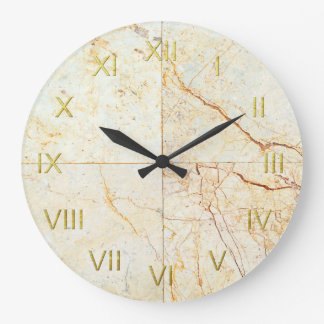 Cream Marble Tile Depiction Wall Clock