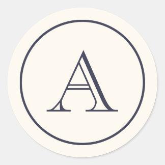 Cream & Navy Blue Block Initial Monogram Classic Round Sticker