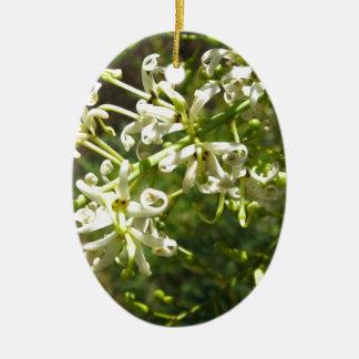 Cream on green ceramic oval decoration