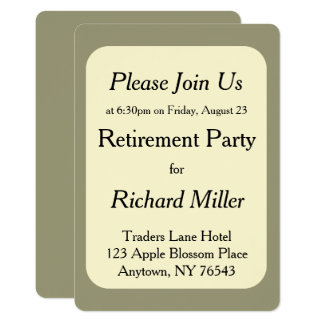 Cream on Olive Retirement Party Card