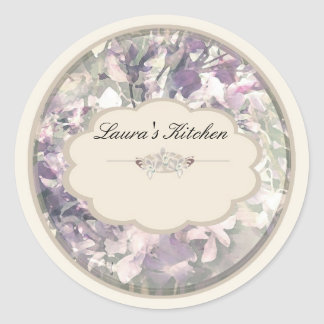 cream orchids labels round sticker