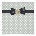 Cream Pearl Bow Black Tie Party Event Personalized Announcements