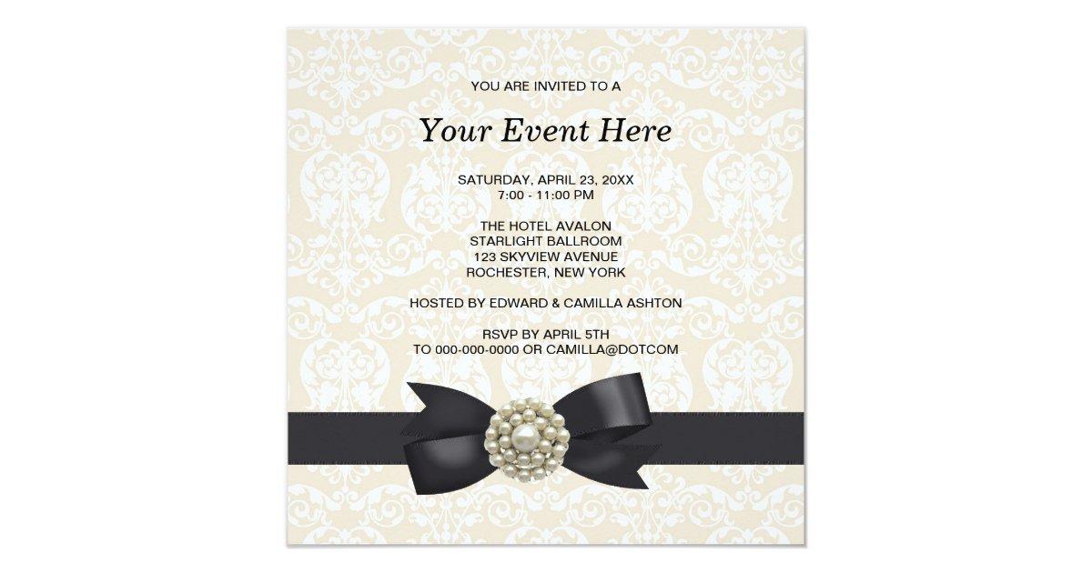 cream pearl bow black tie party event template 13 cm x 13 cm square invitation card zazzle. Black Bedroom Furniture Sets. Home Design Ideas